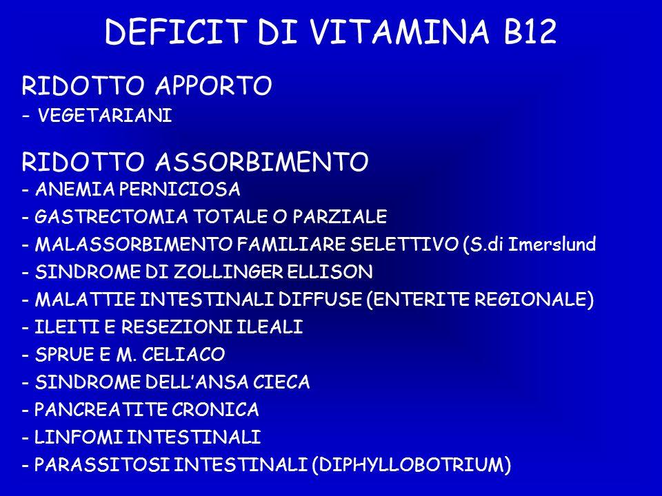 DEFICIT DI VITAMINA B12 RIDOTTO APPORTO - VEGETARIANI