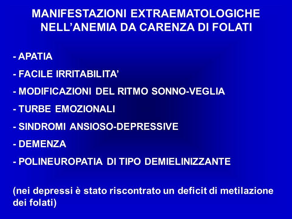 MANIFESTAZIONI EXTRAEMATOLOGICHE NELL'ANEMIA DA CARENZA DI FOLATI