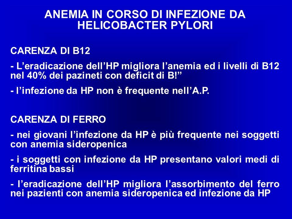 ANEMIA IN CORSO DI INFEZIONE DA HELICOBACTER PYLORI