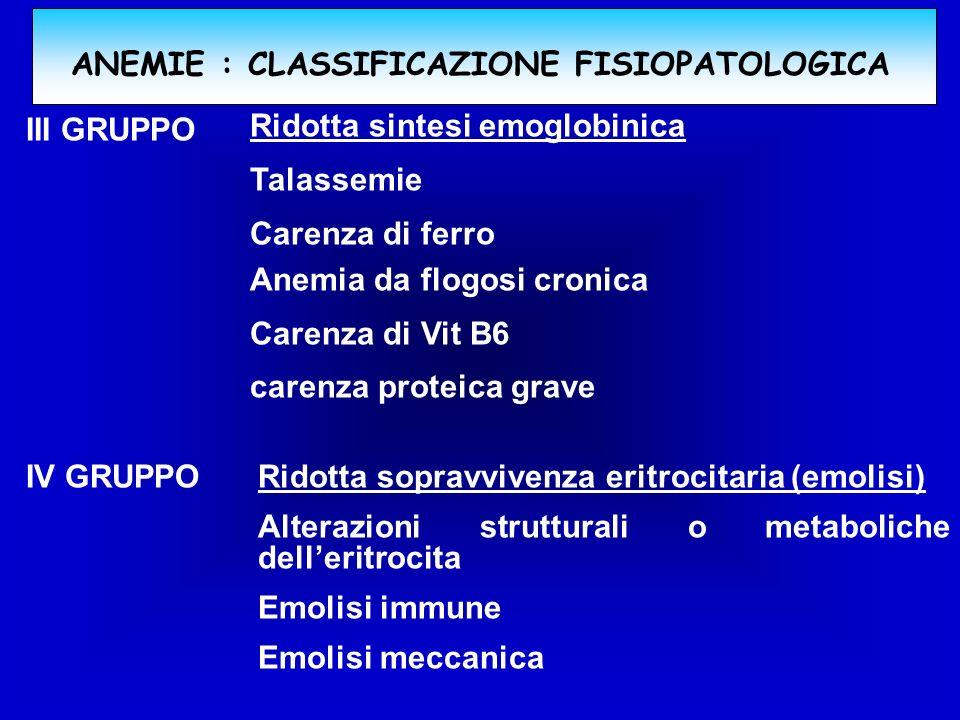 ANEMIE : CLASSIFICAZIONE FISIOPATOLOGICA