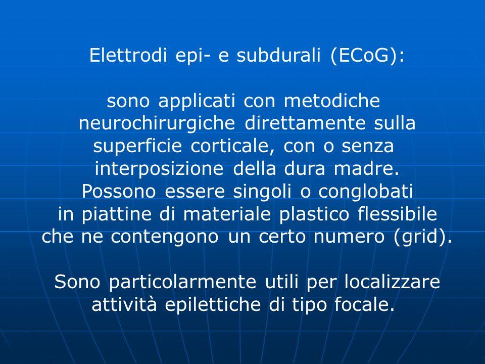 Elettrodi epi- e subdurali (ECoG): sono applicati con metodiche