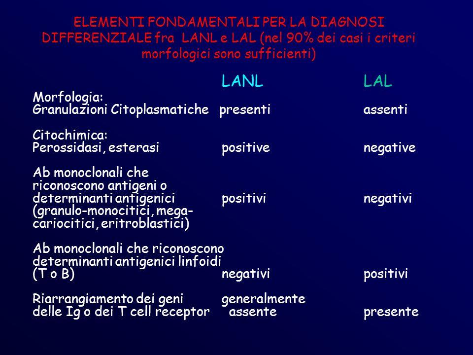 ELEMENTI FONDAMENTALI PER LA DIAGNOSI DIFFERENZIALE fra LANL e LAL (nel 90% dei casi i criteri morfologici sono sufficienti)