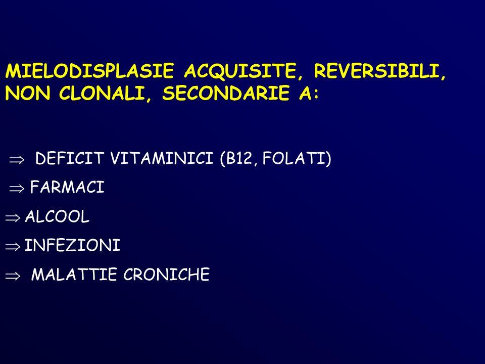 MIELODISPLASIE ACQUISITE, REVERSIBILI, NON CLONALI, SECONDARIE A: