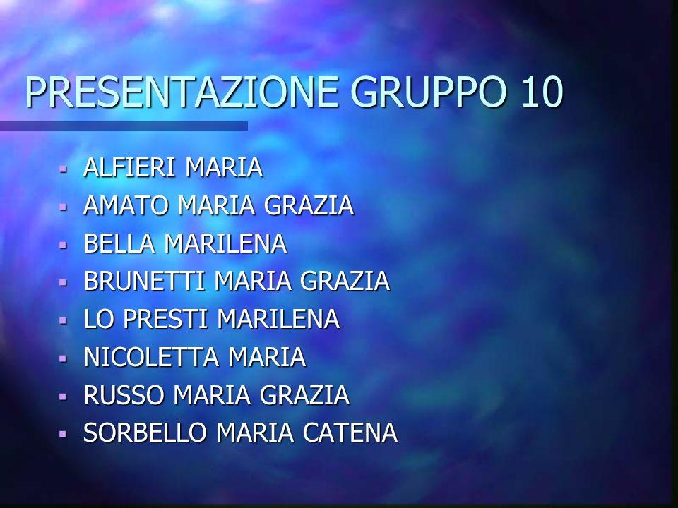 PRESENTAZIONE GRUPPO 10 ALFIERI MARIA AMATO MARIA GRAZIA