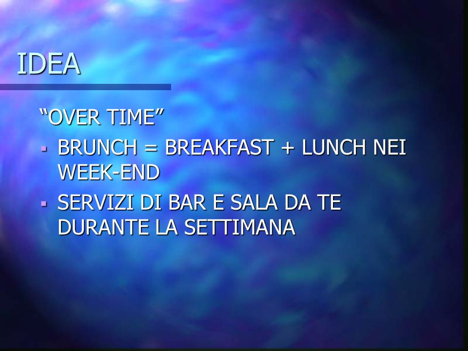 IDEA OVER TIME BRUNCH = BREAKFAST + LUNCH NEI WEEK-END