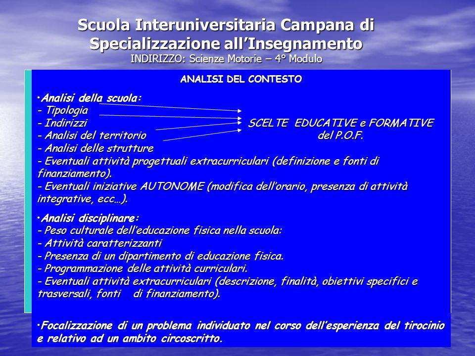 Scuola Interuniversitaria Campana di Specializzazione all'Insegnamento INDIRIZZO: Scienze Motorie – 4° Modulo