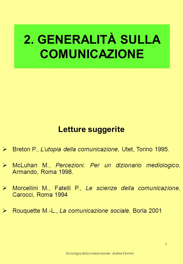 2. GENERALITÀ SULLA COMUNICAZIONE