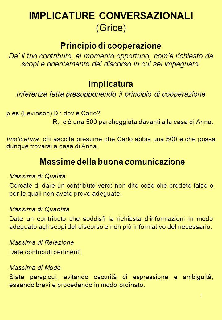 IMPLICATURE CONVERSAZIONALI (Grice)