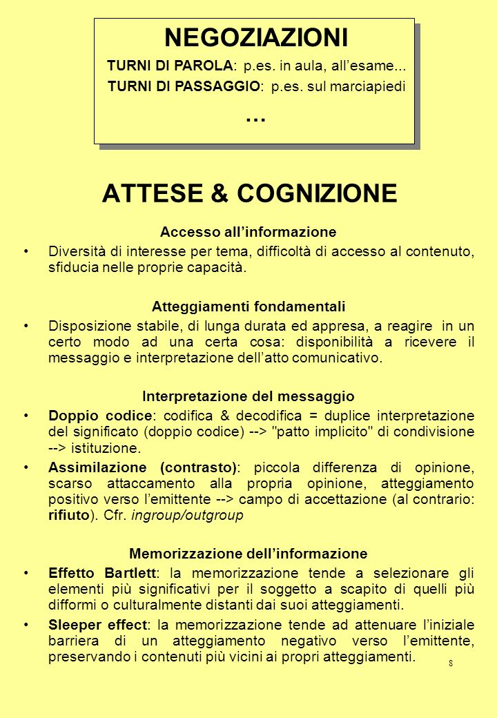 NEGOZIAZIONI ATTESE & COGNIZIONE