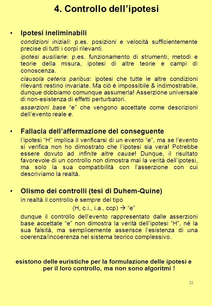 4. Controllo dell'ipotesi