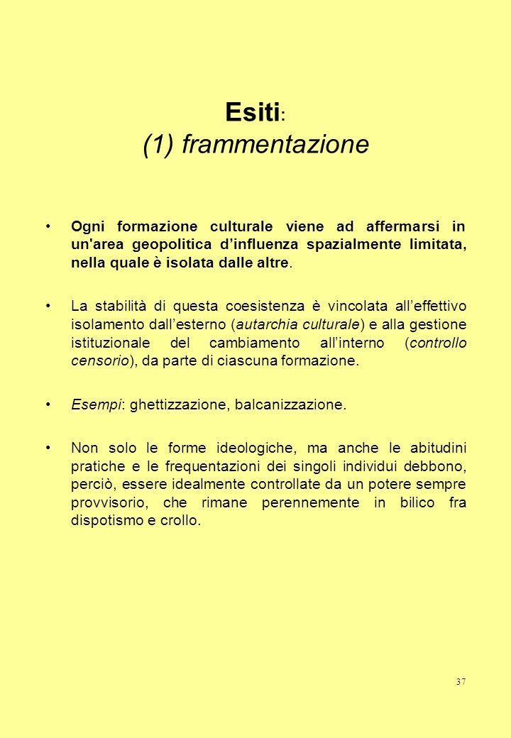 Esiti: (1) frammentazione