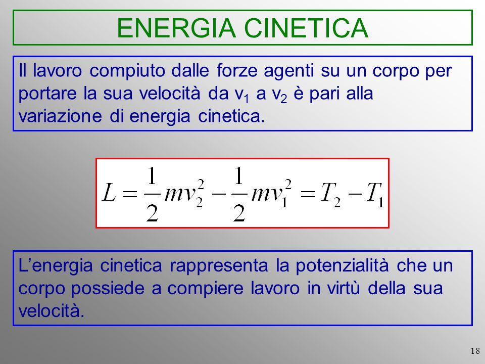 ENERGIA CINETICA Il lavoro compiuto dalle forze agenti su un corpo per portare la sua velocità da v1 a v2 è pari alla variazione di energia cinetica.