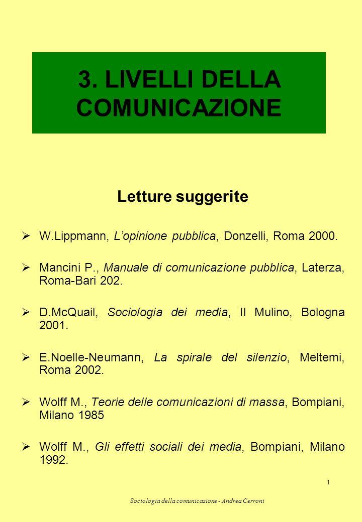 3. LIVELLI DELLA COMUNICAZIONE