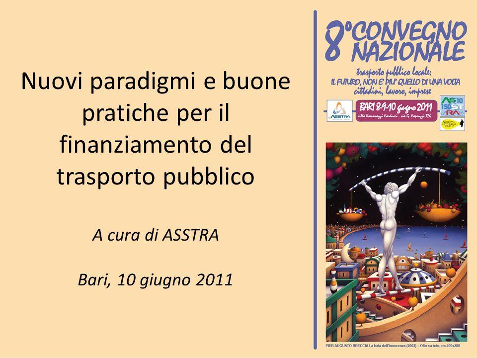 Nuovi paradigmi e buone pratiche per il finanziamento del trasporto pubblico A cura di ASSTRA Bari, 10 giugno 2011