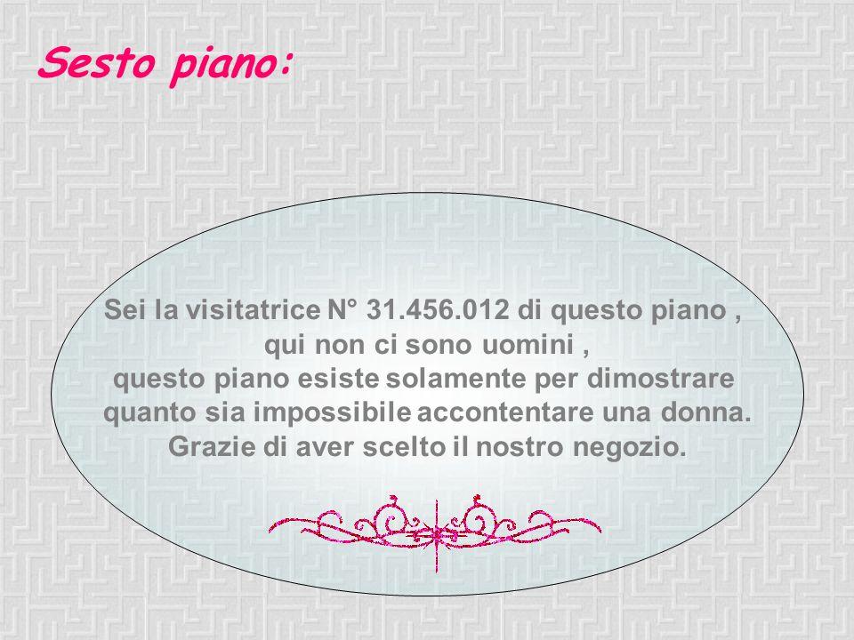 Sesto piano: Sei la visitatrice N° 31.456.012 di questo piano ,