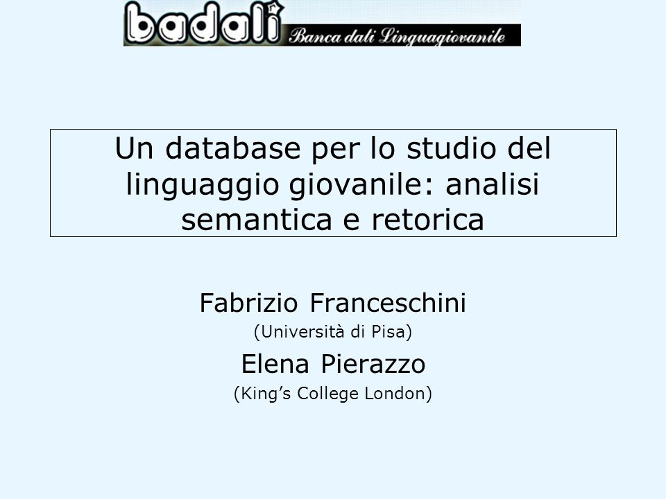 Un database per lo studio del linguaggio giovanile: analisi semantica e retorica