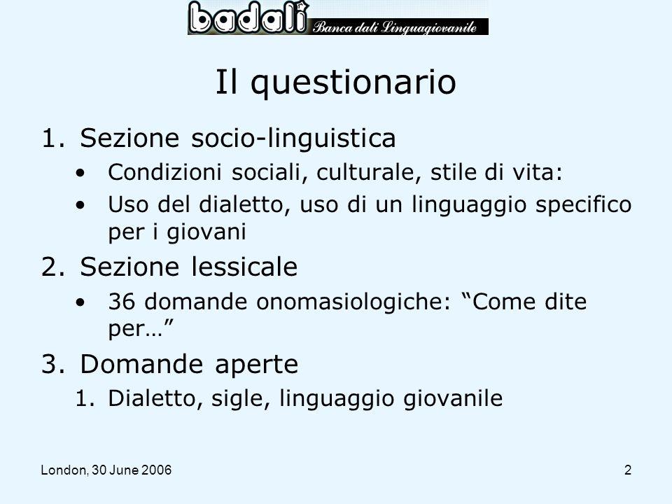 Il questionario Sezione socio-linguistica Sezione lessicale