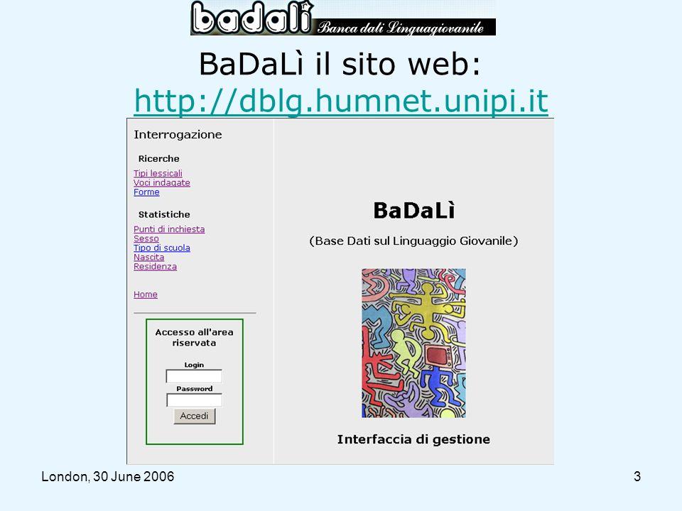 BaDaLì il sito web: http://dblg.humnet.unipi.it