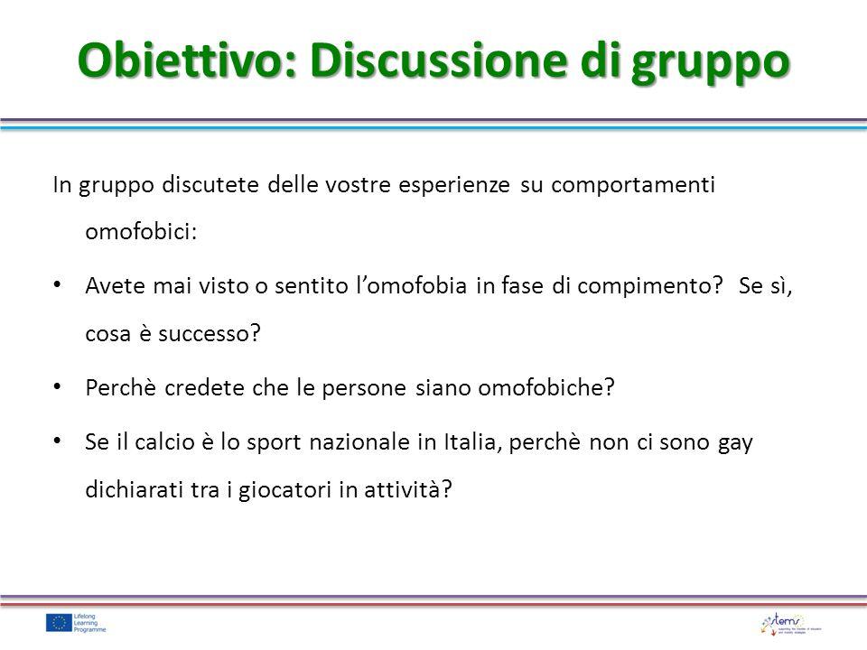 Obiettivo: Discussione di gruppo