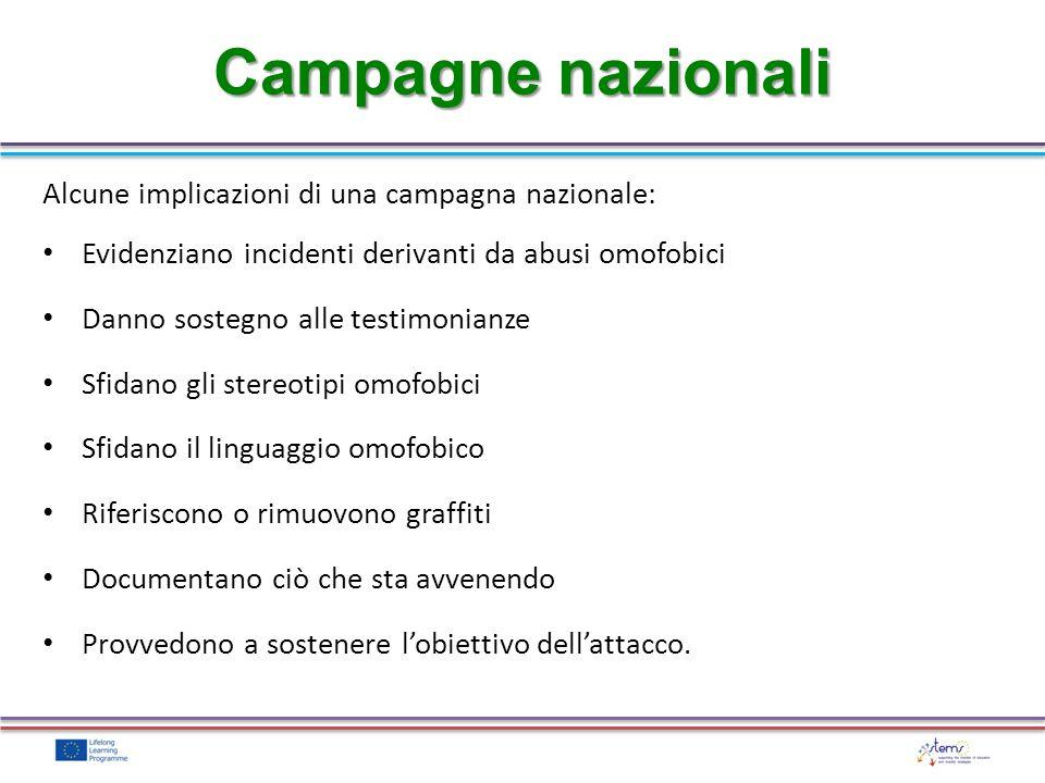 Campagne nazionali Alcune implicazioni di una campagna nazionale: