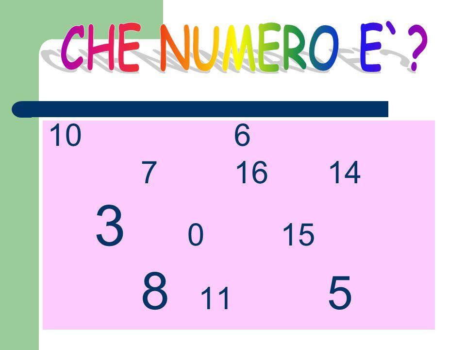 CHE NUMERO E` 10 6 7 16 14 3 0 15 8 11 5