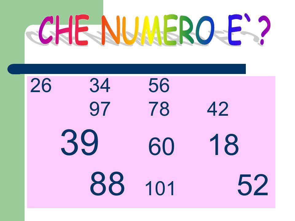 CHE NUMERO E` 26 34 56 97 78 42 39 60 18 88 101 52