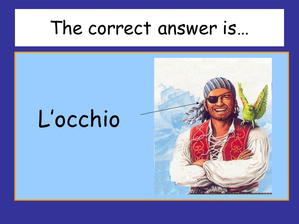 The correct answer is… L'occhio