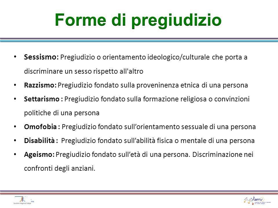 Forme di pregiudizio Sessismo: Pregiudizio o orientamento ideologico/culturale che porta a discriminare un sesso rispetto all altro.