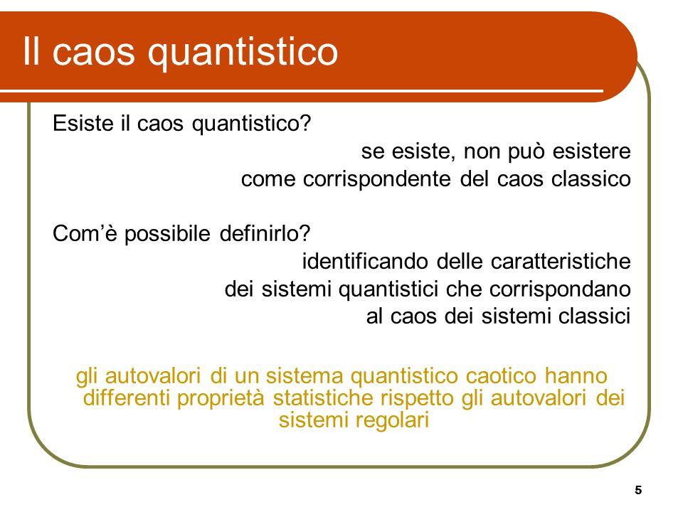 Il caos quantistico Esiste il caos quantistico