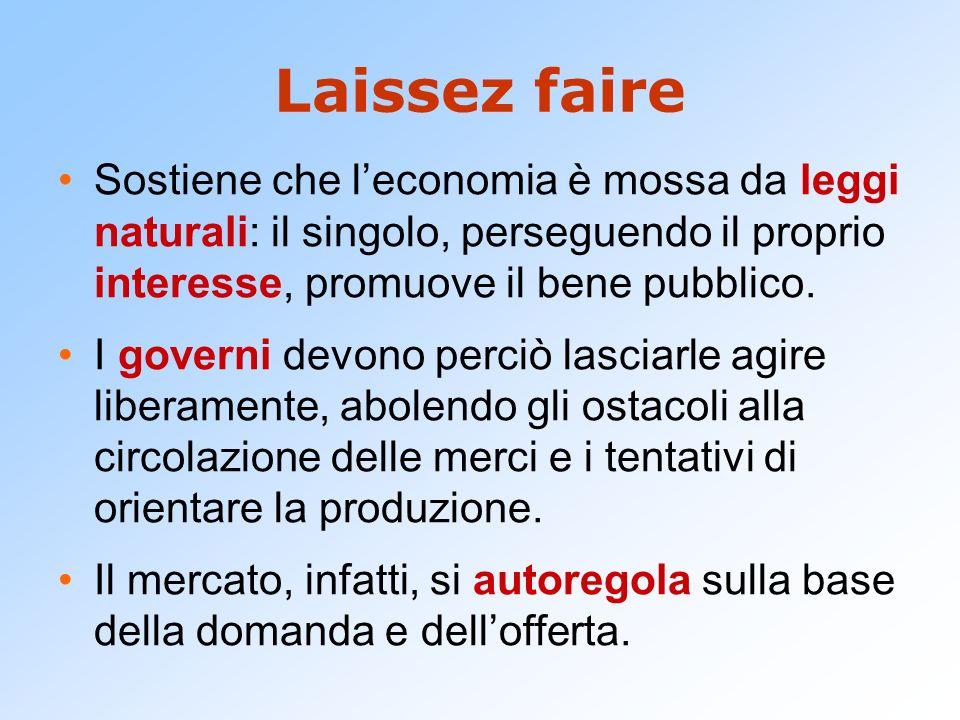 Laissez faire Sostiene che l'economia è mossa da leggi naturali: il singolo, perseguendo il proprio interesse, promuove il bene pubblico.