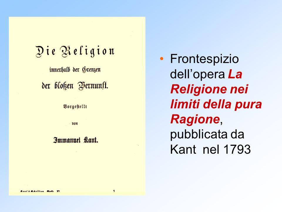 Frontespizio dell'opera La Religione nei limiti della pura Ragione, pubblicata da Kant nel 1793