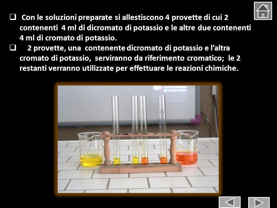 Con le soluzioni preparate si allestiscono 4 provette di cui 2 contenenti 4 ml di dicromato di potassio e le altre due contenenti 4 ml di cromato di potassio.