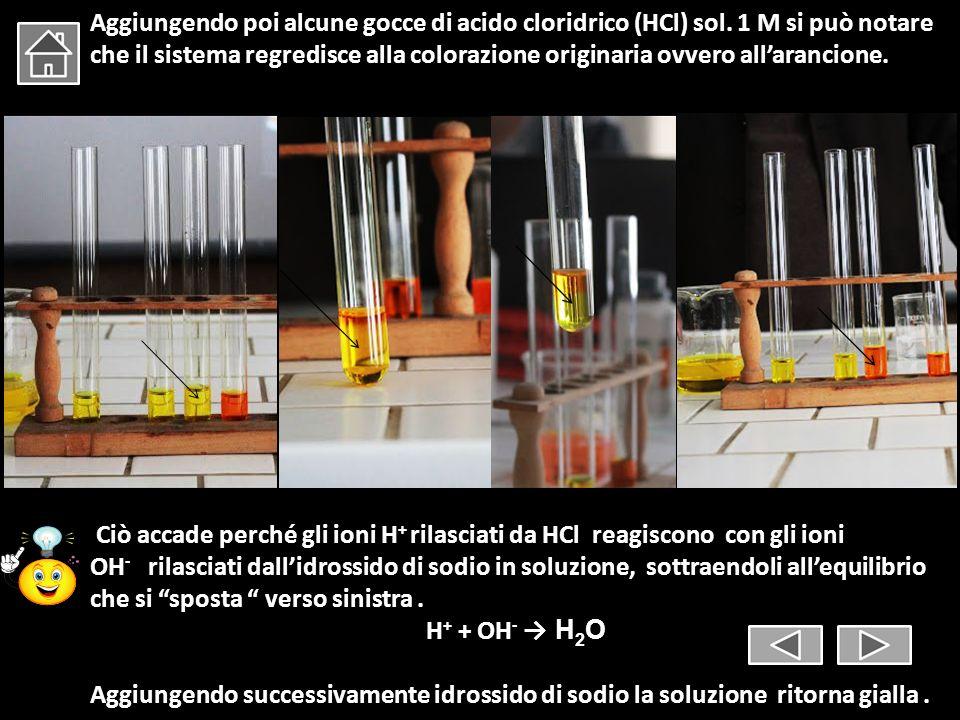 Aggiungendo poi alcune gocce di acido cloridrico (HCl) sol