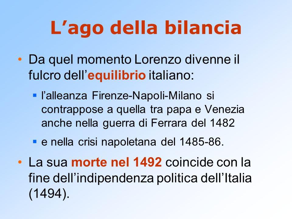 L'ago della bilancia Da quel momento Lorenzo divenne il fulcro dell'equilibrio italiano: