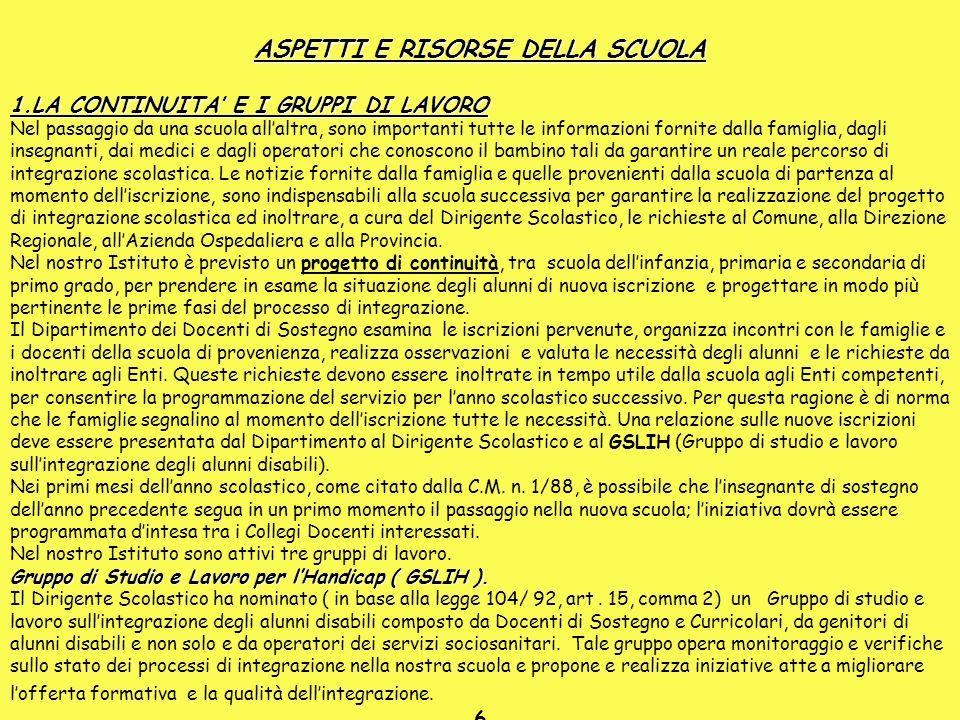 ASPETTI E RISORSE DELLA SCUOLA