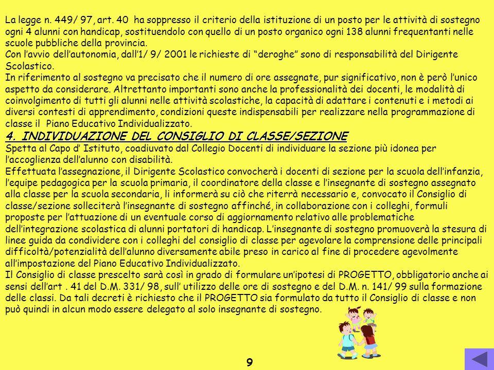 4. INDIVIDUAZIONE DEL CONSIGLIO DI CLASSE/SEZIONE