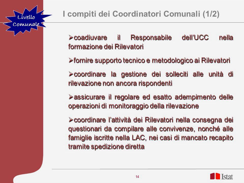I compiti dei Coordinatori Comunali (1/2)