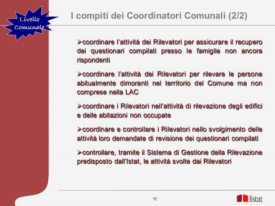 I compiti dei Coordinatori Comunali (2/2)