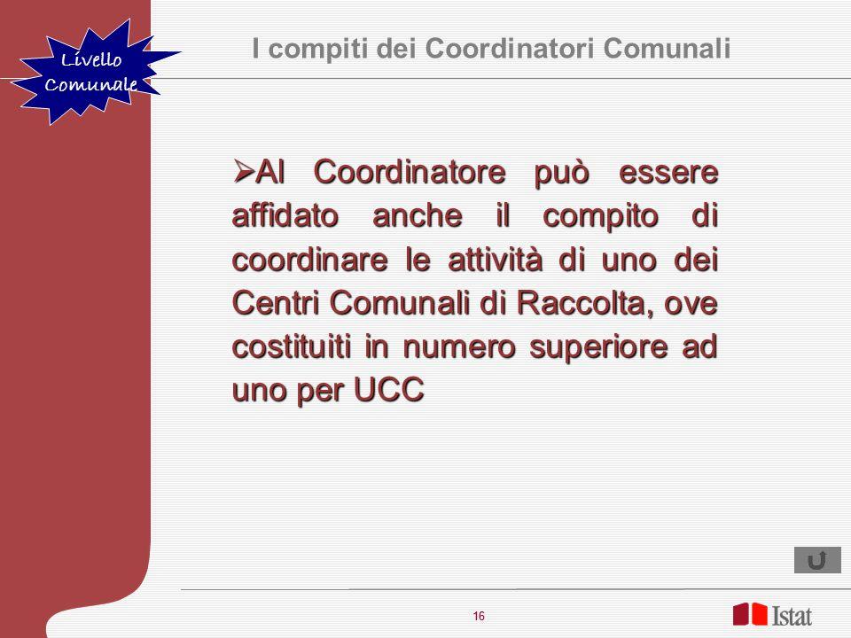 I compiti dei Coordinatori Comunali