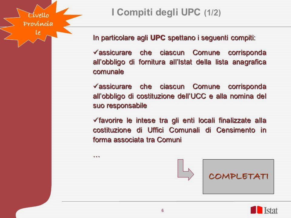 I Compiti degli UPC (1/2) COMPLETATI Livello Provinciale