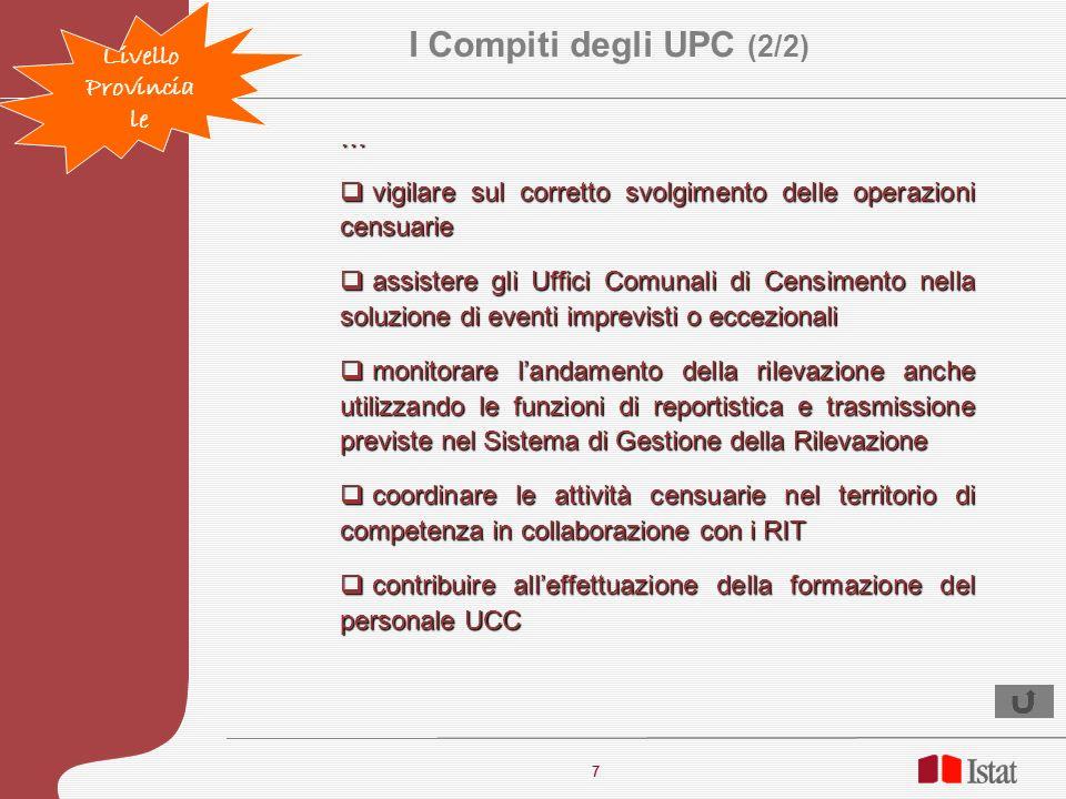 I Compiti degli UPC (2/2) Livello Provinciale …
