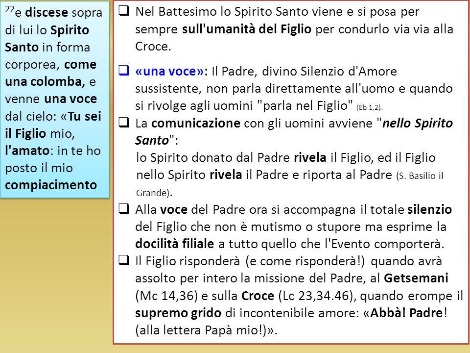 22e discese sopra di lui lo Spirito Santo in forma corporea, come una colomba, e venne una voce dal cielo: «Tu sei il Figlio mio, l amato: in te ho posto il mio compiacimento
