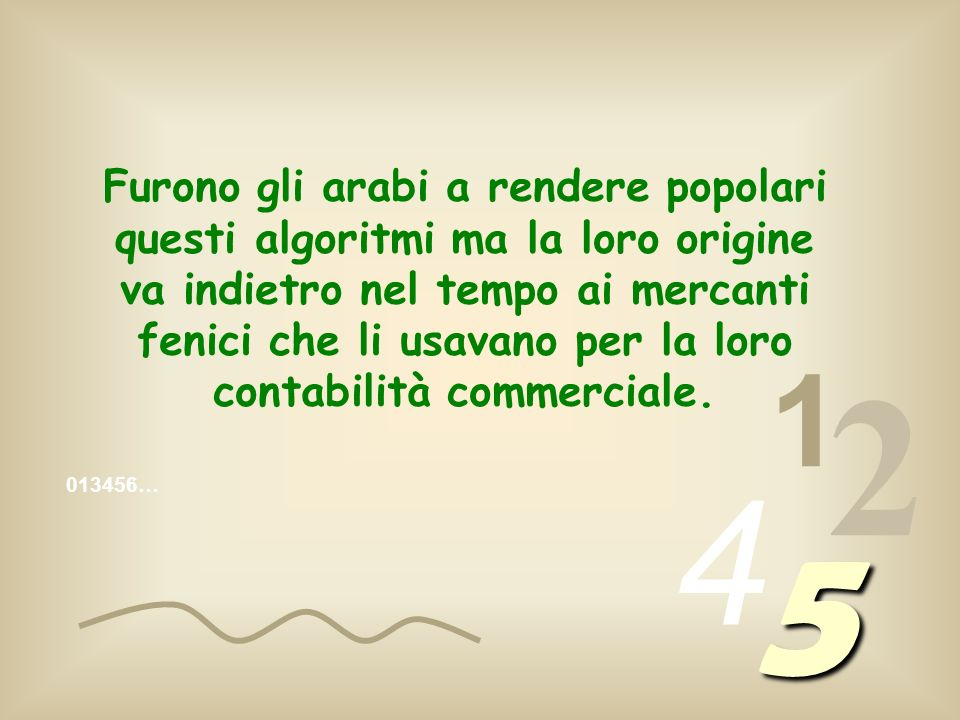 Furono gli arabi a rendere popolari questi algoritmi ma la loro origine va indietro nel tempo ai mercanti fenici che li usavano per la loro contabilità commerciale.