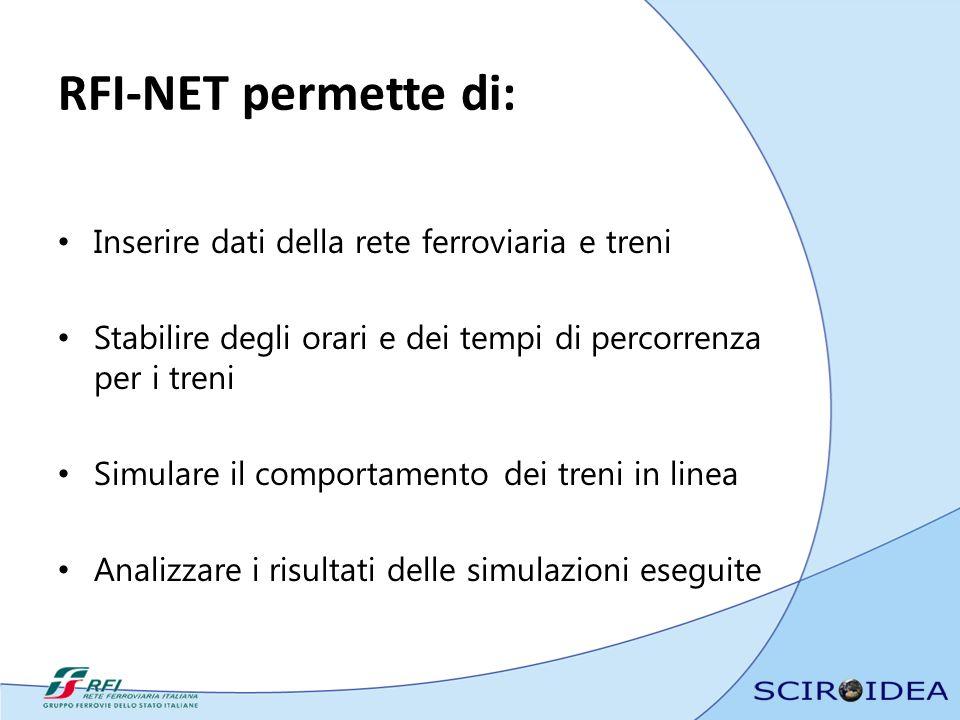 RFI-NET permette di: Inserire dati della rete ferroviaria e treni