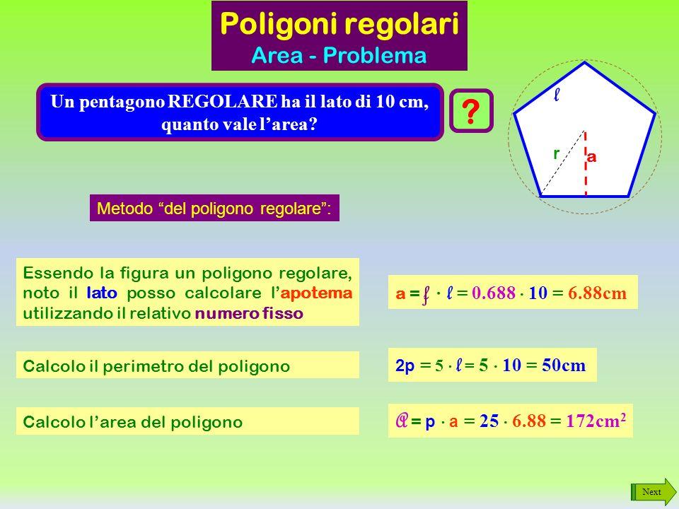 Un pentagono REGOLARE ha il lato di 10 cm, quanto vale l'area