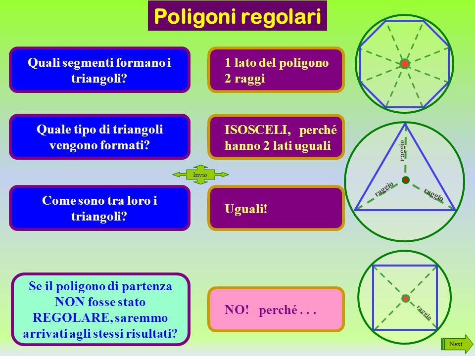 Poligoni regolari Quali segmenti formano i triangoli