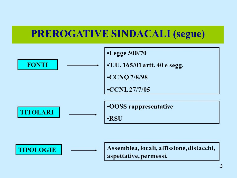 PREROGATIVE SINDACALI (segue)‏