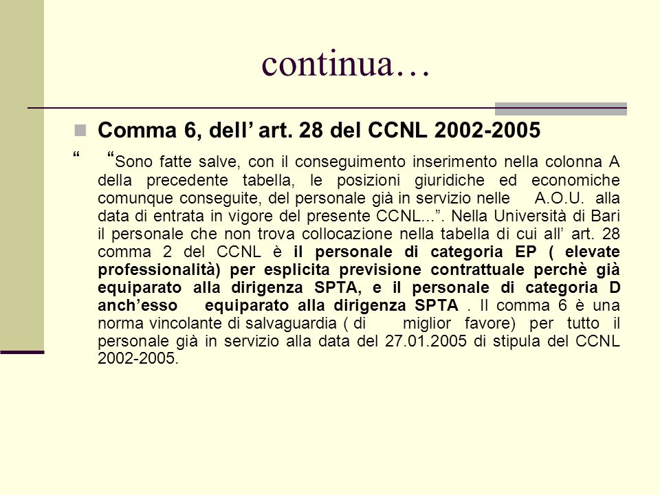 continua… Comma 6, dell' art. 28 del CCNL 2002-2005