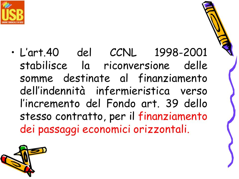 L'art.40 del CCNL 1998-2001 stabilisce la riconversione delle somme destinate al finanziamento dell'indennità infermieristica verso l'incremento del Fondo art.