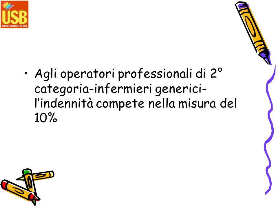 Agli operatori professionali di 2° categoria-infermieri generici-l'indennità compete nella misura del 10%